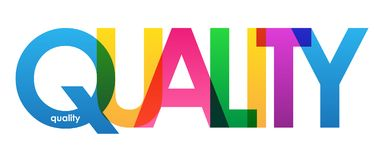 QUALITY colorful overlapping letters banner. Vector.  Rainbow palette Stock Photography