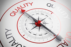 Quality compass. Compass arrow pointing to the word quality Stock Photography