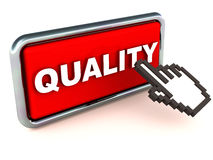 Quality control. Quality button click with a hand mouse cursor, button in red, white background, concept of high quality service or product, while available at Royalty Free Stock Photography