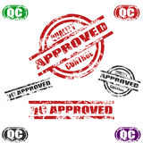 Quality Control Approved grunge stamp set. Set of eight QC CERTIFIED / Approved grunge stamp, red,black, green and other stamp colors Three different types Royalty Free Stock Photo