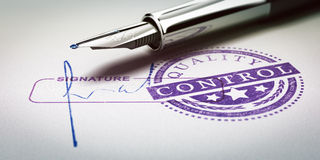 Quality Control Approved. Stamp and signature with fountain pen. Conceptual 3D illustration of quality audit and product conformity Royalty Free Stock Photos