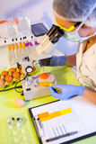 Quality control expert inspecting at chicken eggs. In the laboratory, selective focus Stock Photo