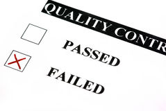 Quality control failed. Quality control form. Failed is checked Royalty Free Stock Image