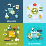 Quality control flat. Icons set with best quality water natural organic certified construction isolated vector illustration Royalty Free Stock Photo