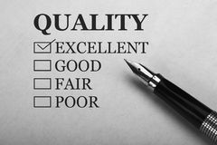 Quality control form. And pen Royalty Free Stock Photos