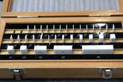 Quality control-Gauge block. Gauge blocks in wooden box, tested for quality Stock Photography