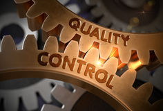 Quality Control on the Golden Gears. 3D Illustration. Stock Photos