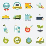 Quality control icons flat. Quality control certified quality test services icons flat set isolated vector illustration Stock Photography