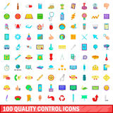 100 quality control icons set, cartoon style. 100 quality control icons set in cartoon style for any design vector illustration Royalty Free Stock Image