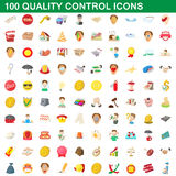 100 quality control icons set, cartoon style. 100 quality control icons set in cartoon style for any design vector illustration Stock Photos