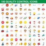 100 quality control icons set, cartoon style. 100 quality control icons set in cartoon style for any design illustration stock illustration
