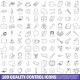 100 quality control icons set, outline style Stock Images