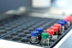 Quality Control Laboratory medicine. Chromatograph operation. Bo Royalty Free Stock Photo