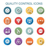 Quality control long shadow icons. Flat vector symbols Stock Image