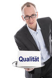 Quality control manager isolated - business man with sign Royalty Free Stock Images