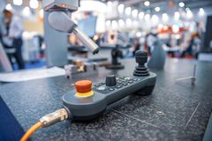 Quality control measurement probe. Metalworking CNC milling machine. Cutting metal modern processing technology. Small depth of field. Warning - authentic stock images