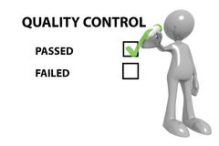 Quality control pass. 3d toon figure marking a passed quality control checkbox, white background Stock Photo