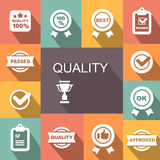 Quality control related vector icon set. Badge with ribbons Royalty Free Stock Images