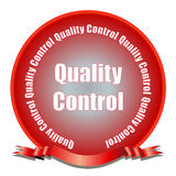 Quality Control Seal. A red gradient quality control seal with ribbon. Fully scalable vector illustration Royalty Free Stock Image