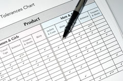 Quality control tolerances chart. And pen, business concept Stock Images