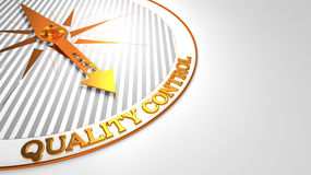 Quality Control on White -Golden Compass. Royalty Free Stock Image