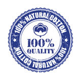 100% Quality Cotton label or stamp. Vector illustration royalty free illustration