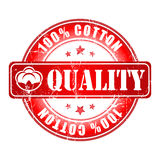 100% Quality Cotton label or stamp. Stock Image
