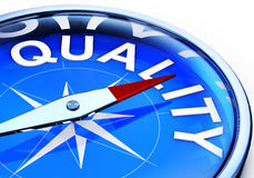 Quality. 3D illustration of an compass with an quality icon Royalty Free Stock Images