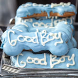 Quality Decorative Blue Dog Treats with White Words Good Boy Royalty Free Stock Images