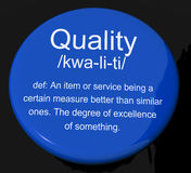 Quality Definition Button Showing Excellent Stock Image