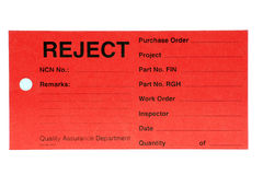 Quality Department Reject Tag. This Reject tag is used by the Quality Control Department during product manufacture Royalty Free Stock Images