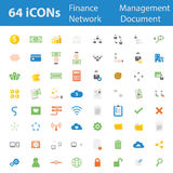 64 Quality design modern vector illustration icons set. As finance icon,money icon,banking icon,man management icon,organisation icon,office icon,businessman Stock Photos