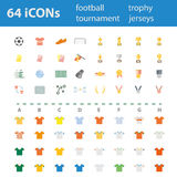 64 Quality design modern vector illustration icons set. As football icon, soccer icon, match icon,trophy icon,medal icon, and vary of team jersey icon Vector Illustration