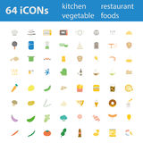 64 Quality design modern vector illustration icons set. As Kitchen utensil icon. Equipment icon, Restaurant icon, Dinner icon, Food icon, Vegetable icon Vector Illustration