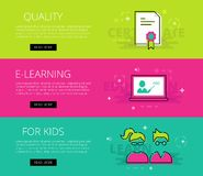 Quality E-learning for Kids. Vector banners template set Royalty Free Stock Photos