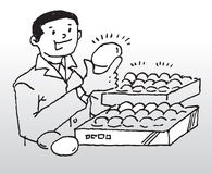 Quality eggs. Hand drawn image of a man holding a quality egg vector illustration