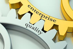 Quality and enterprise concept on the gear. 3D Royalty Free Stock Image