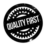 Quality First rubber stamp. Grunge design with dust scratches. Effects can be easily removed for a clean, crisp look. Color is easily changed Royalty Free Stock Images
