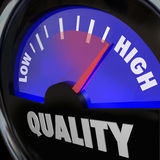 Quality Fuel Gauge Low Improving to High Increase. A fuel gauge with the word Quality to represent improving or increasing measurement of different attributes Royalty Free Stock Photo