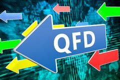 Quality Function Deployment. QFD - Quality Function Deployment - text concept on blue arrow flying over green world map background. 3D render illustration Royalty Free Stock Photo