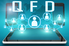Quality Function Deployment. QFD - Quality Function Deployment - text illustration with social icons and tablet computer and mobile cellphones on cyan digital Royalty Free Stock Photo