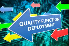 Quality Function Deployment. Text concept on blue arrow flying over green world map background. 3D render illustration Stock Photos