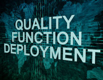 Quality Function Deployment. Text concept on green digital world map background Stock Photography