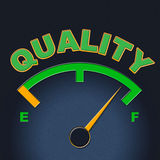 Quality Gauge Indicates Perfect Indicator And Satisfaction. Quality Gauge Representing Meter Approve And Certified Royalty Free Stock Photos