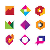 Quality geometric base logo art design abstract polygon icon set Royalty Free Stock Photo