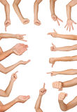 Quality gestures. Collection of high resolution male hand gestures Stock Image