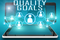 Quality Goals. Text illustration with social icons and tablet computer and mobile cellphones on cyan digital world map background Stock Images