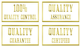 Quality gold plates. Four quality gold metal plates Stock Images