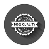 100% quality grunge rubber stamp. Vector illustration with long. Shadow. Business concept 100 percent quality stamp pictogram Royalty Free Stock Photo