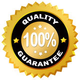 Quality guarantee. 100% percent quality guarantee label over white Stock Photography